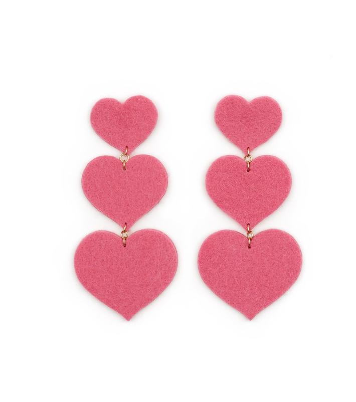 Dady Bones Pink Heart Earrings $45.00