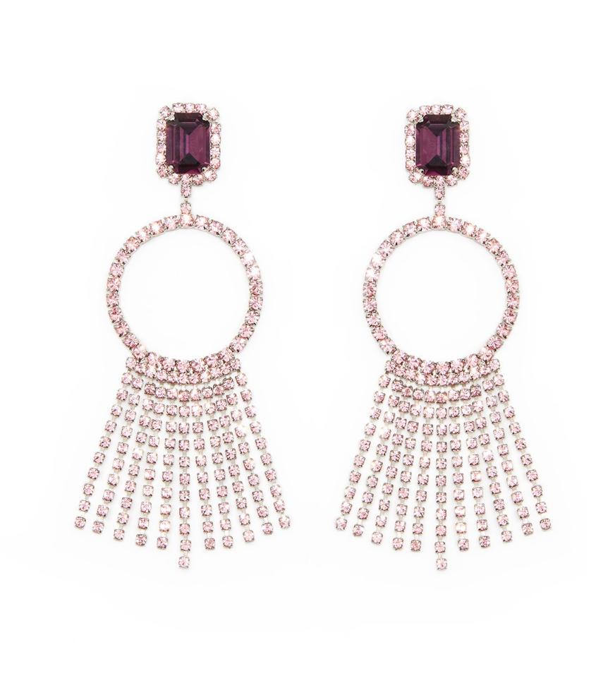 G.V.G.V. Rhinestone Hoop And Fringe Earrings $395.00