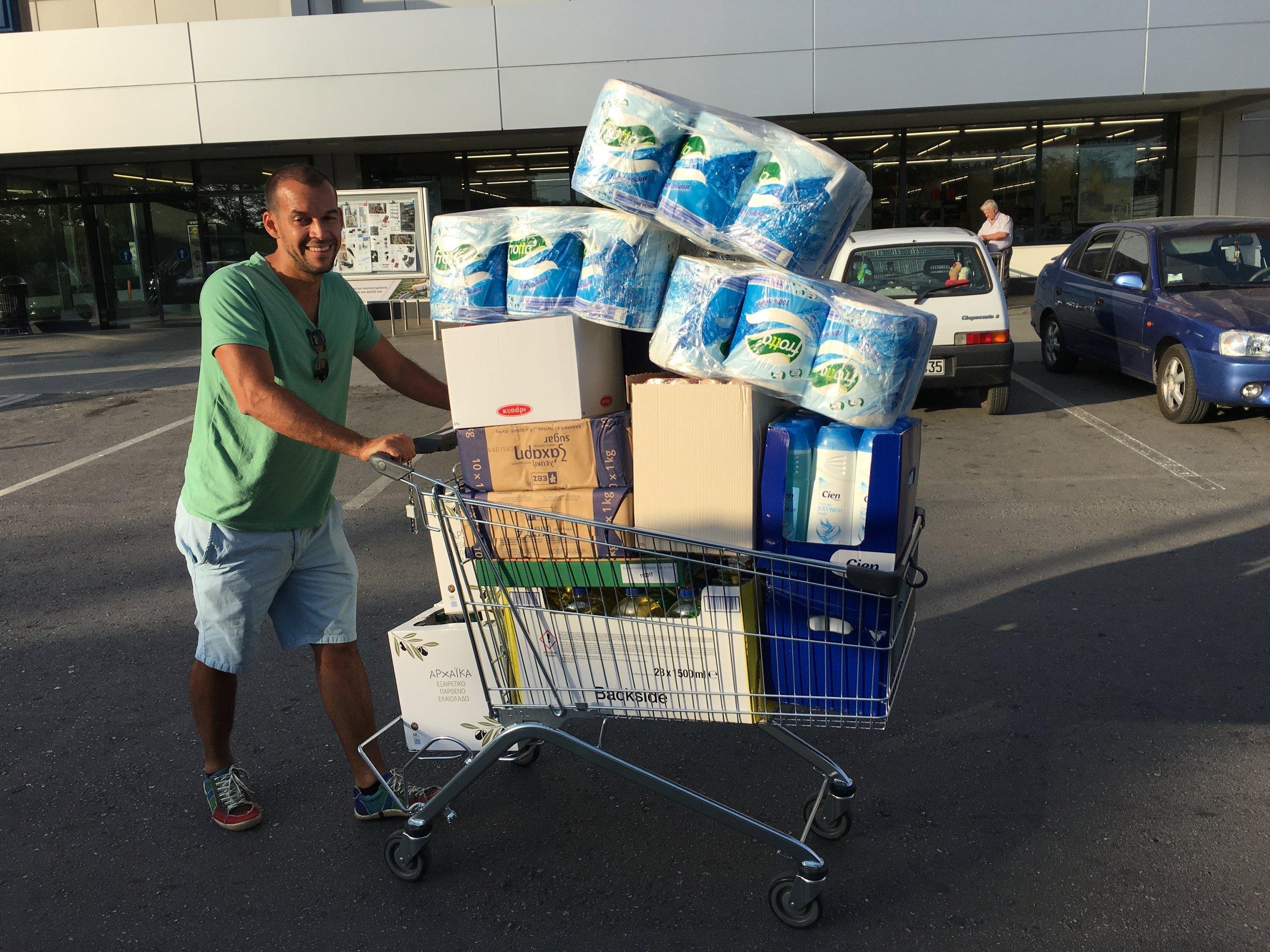 Volunteer buying supplies