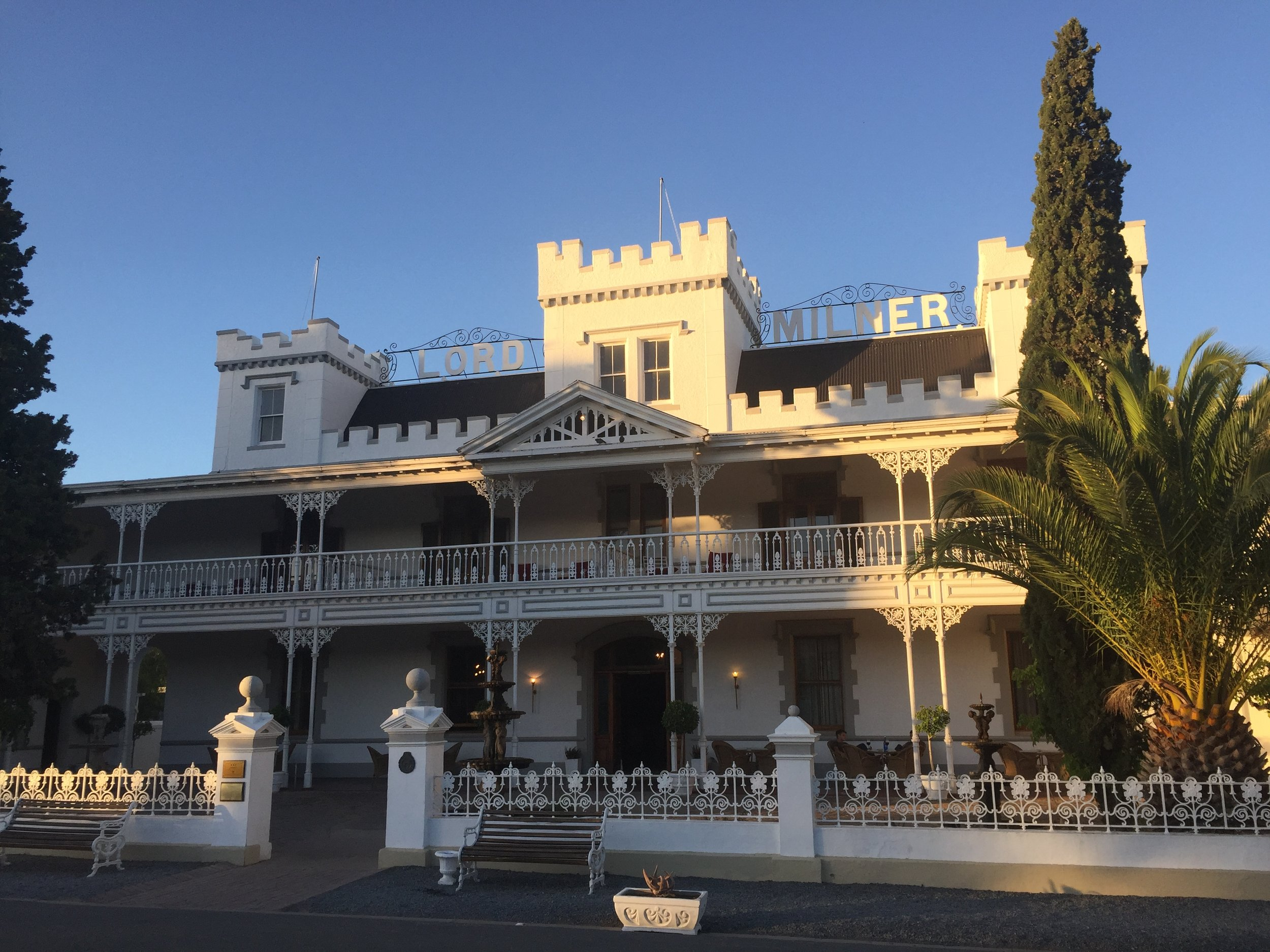 Stopping at Matjiesfontein and looking in at the Lord Milner Hotel.
