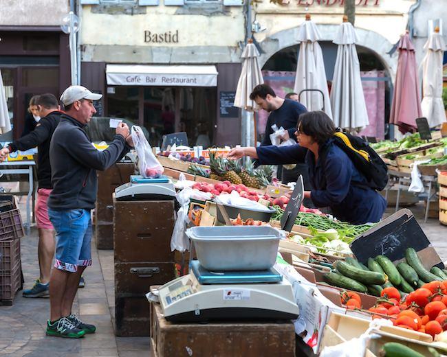 At Carcassonne market.