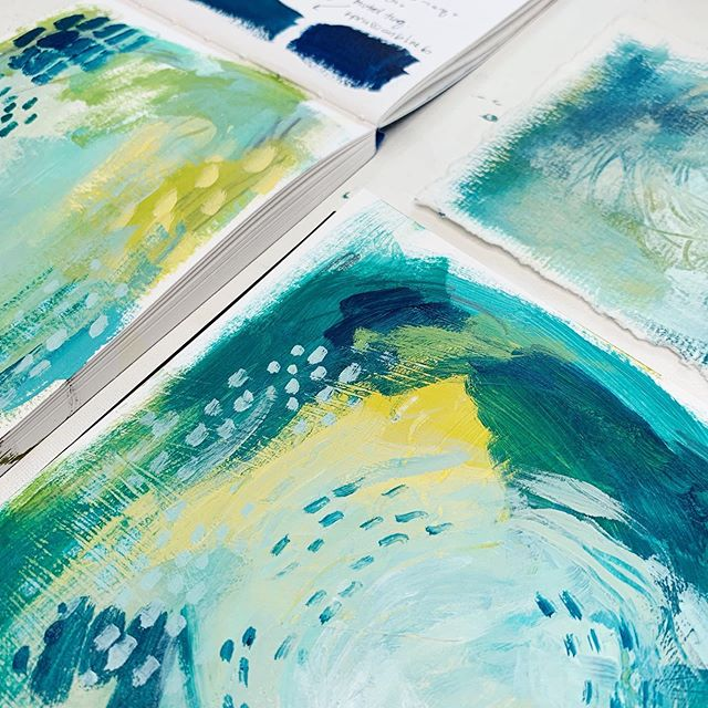 Pssst, are y'all excited for a new color palette tomorrow with @experiencetruecolors?! I think you'll really enjoy this months #thesketchbookfiles project - I certainly did!  This palette feels like it was MADE for me! ⠀⠀⠀⠀⠀⠀⠀⠀⠀ #experiencetruecolors #truecolorspalette7 #sketchbookartist #stillmanandbirn #carveouttimeforart #createcultivate #acrylicpainting #abstractpainting #abstractexpressionism #markmaking #coastaldecor #coastalart #ihavethisthingwithcolor #ihavethisthingwithblue #oceanart #deepbluesea #trustthetides