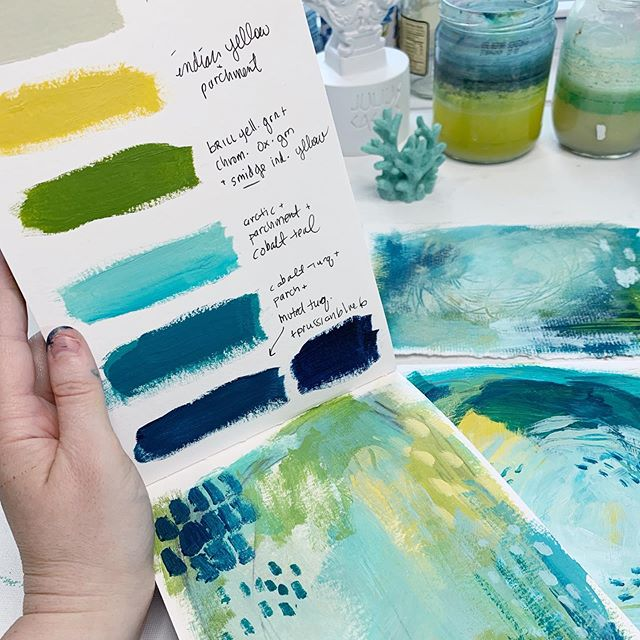 """Here's how I figure out my """"quick picks"""" for Acrylic paint in #thesketchbookfiles! ⠀⠀⠀⠀⠀⠀⠀⠀⠀ #colorpalette #carveouttimeforart #sketchbookartist #stillmanandbirn #createcultivate #acrylicpainting #experiencetruecolors #truecolorspalette7 #ihavethisthingwithblue #coastalart #coastalartwork #marylandartist"""