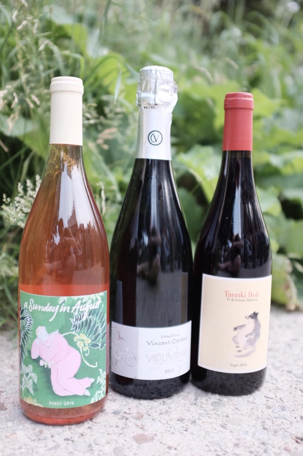 Fresh + Funky  A Sunday in August Pinot Gris, Vincent Carême Vouvray Brut, 4 Kilos Tanuki Bob