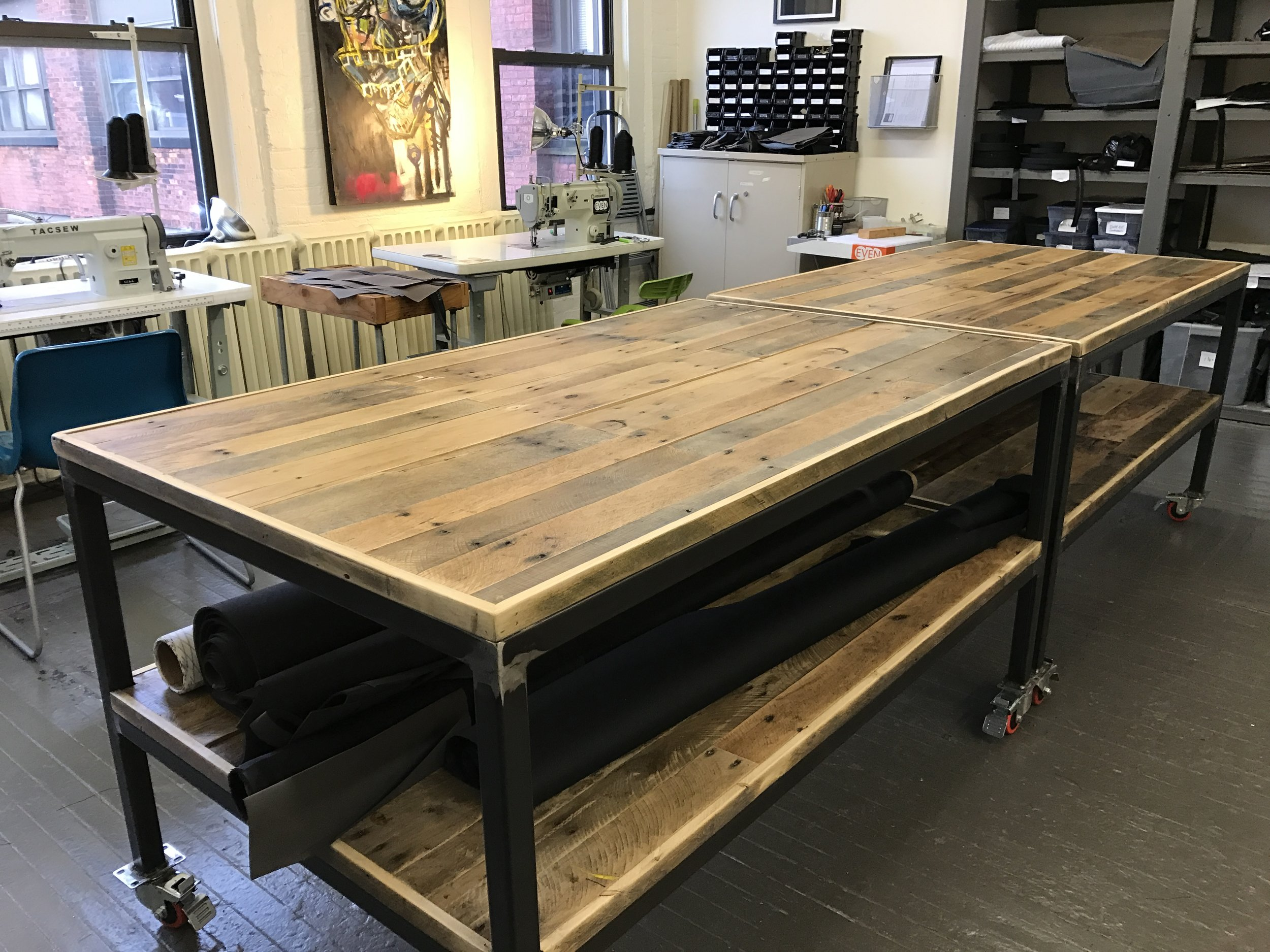 Reclaimed wood and steel frame rolling cart studio tables