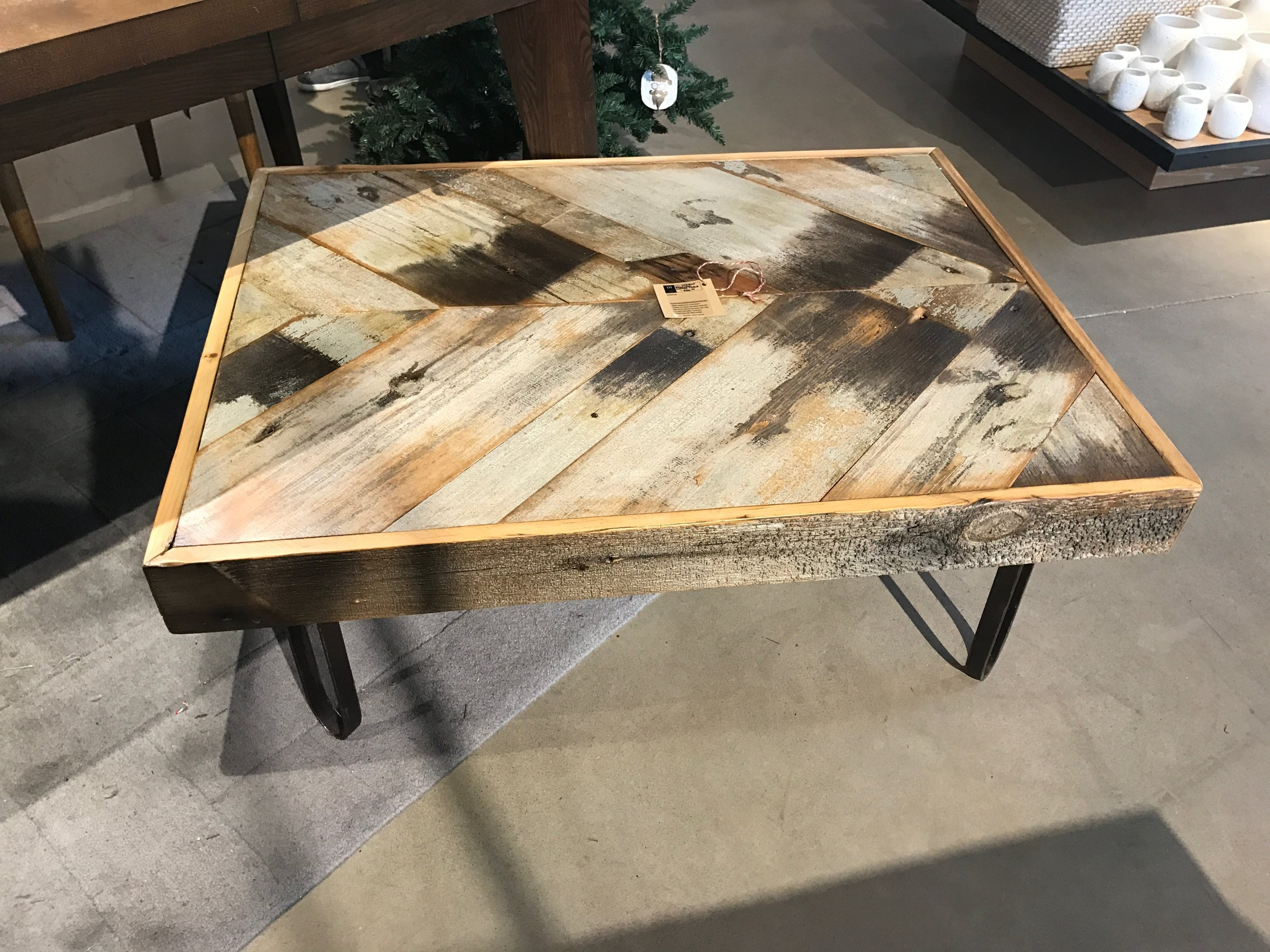 Reclaimed 200 year old barnwood coffee table with flat bar hair pin steel legs