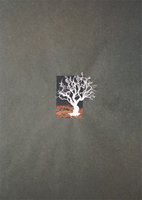 "Orange Fields - fiber tree on handmade papers - one of a related series Dimensions: 3"" x 4"""