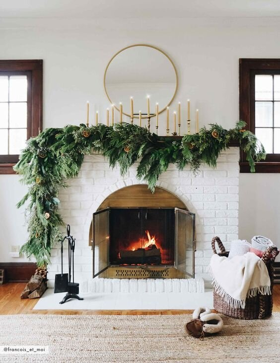 holiday home decor fireplace mantel