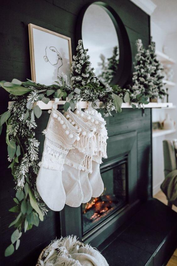 holiday home decor fireplace mantel stockings