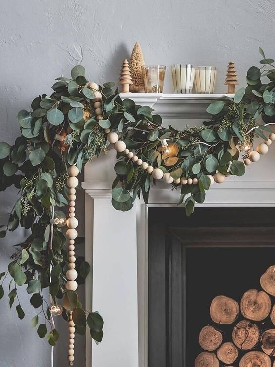 holiday home decor fireplace mantel garland