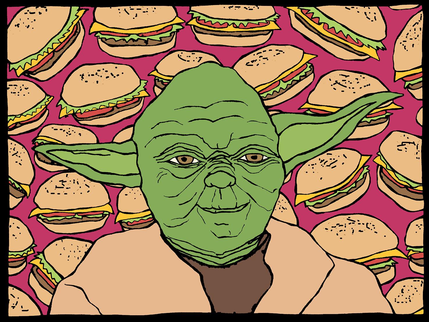 Yoda + cheeseburgers