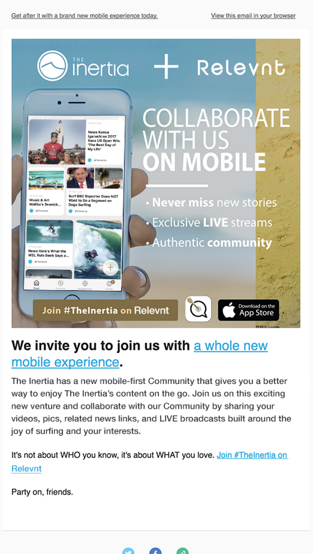 Example of theinertia.com's newsletter outreach to their audience that drives everyone to their new Community.