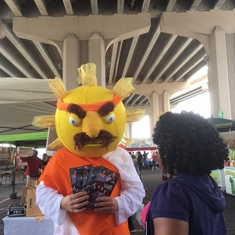 Sunny-Ray Krishna is spreading the good word about Sleeping Giant Fest at the Riverside Arts Market . He will be hanging out till 3pm