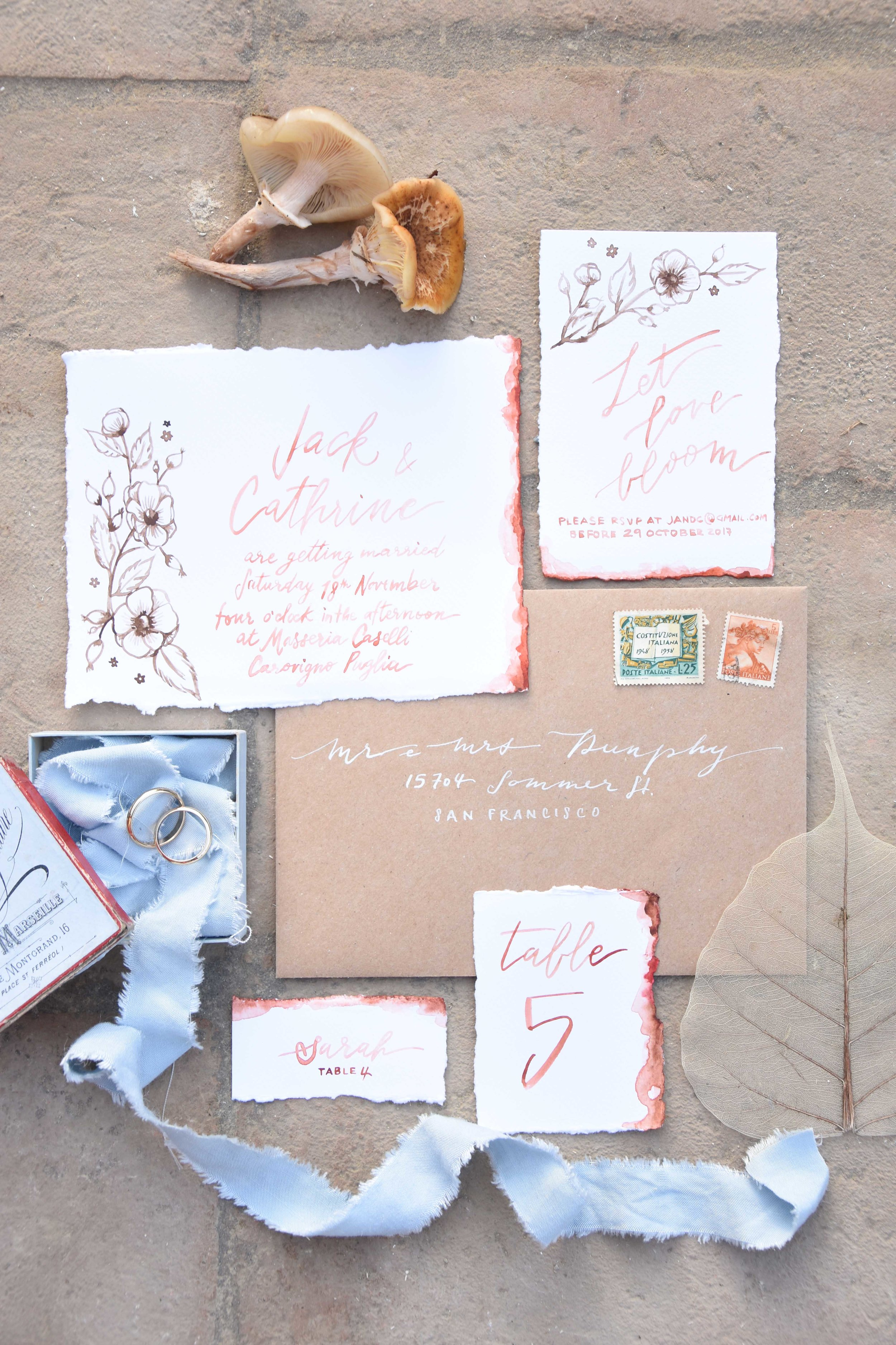 invitation hand painted autumn the marshy's vintage garden wedding planner tuscany toscana calligraphy partecipazioni montaione firenze stationery.jpg