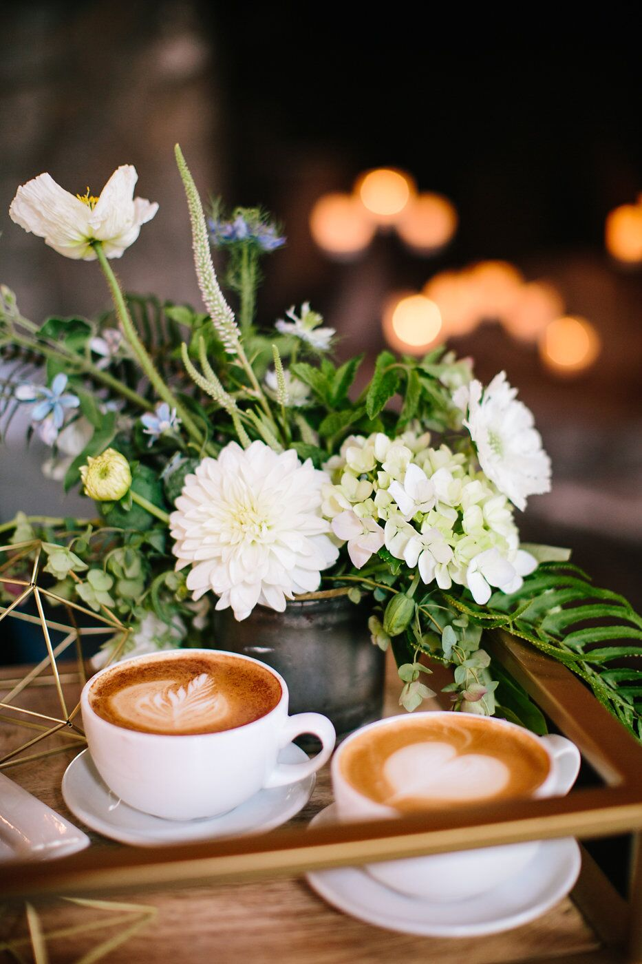 Lattes and flowers by Espresso Elegance Catering