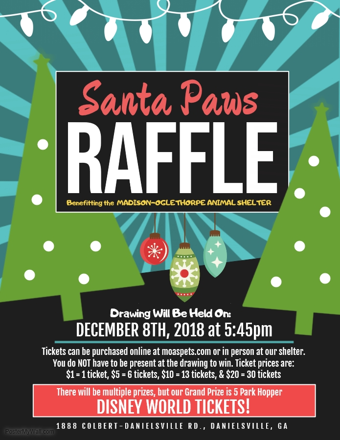 Learn more about our Santa Paws Raffle here: https://www.moaspets.com/events-and-specials/2018/11/22/santa-paws-raffle