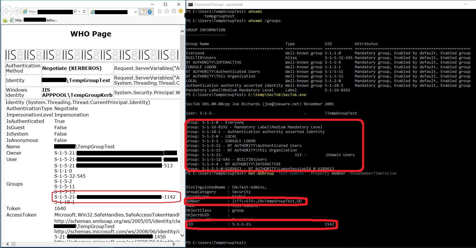 "As you see in the attached screenshot, the web page recognizes the user's membership of the group ""Test-Admins"" (SID ending in ""1142""), which is what gives access to the page.  But looking at the clients local access token (using joeware.net's  SecTok ), we can see that the client does not know about the user being a member of any domain groups other than Domain Users group, even though it has been added (See the Get-ADGroup output at the bottom of the command shell window). This is of course because the user has logged on, before being added temporarily to the Test-Admins group."