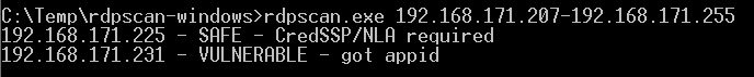 Here, I tested againt two unpatched VM's, one protected by CredSSP/NLA, the other completely unprotected against CVE-2019-0708.