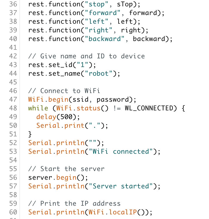 Some of the code I wrote to control the robot drone