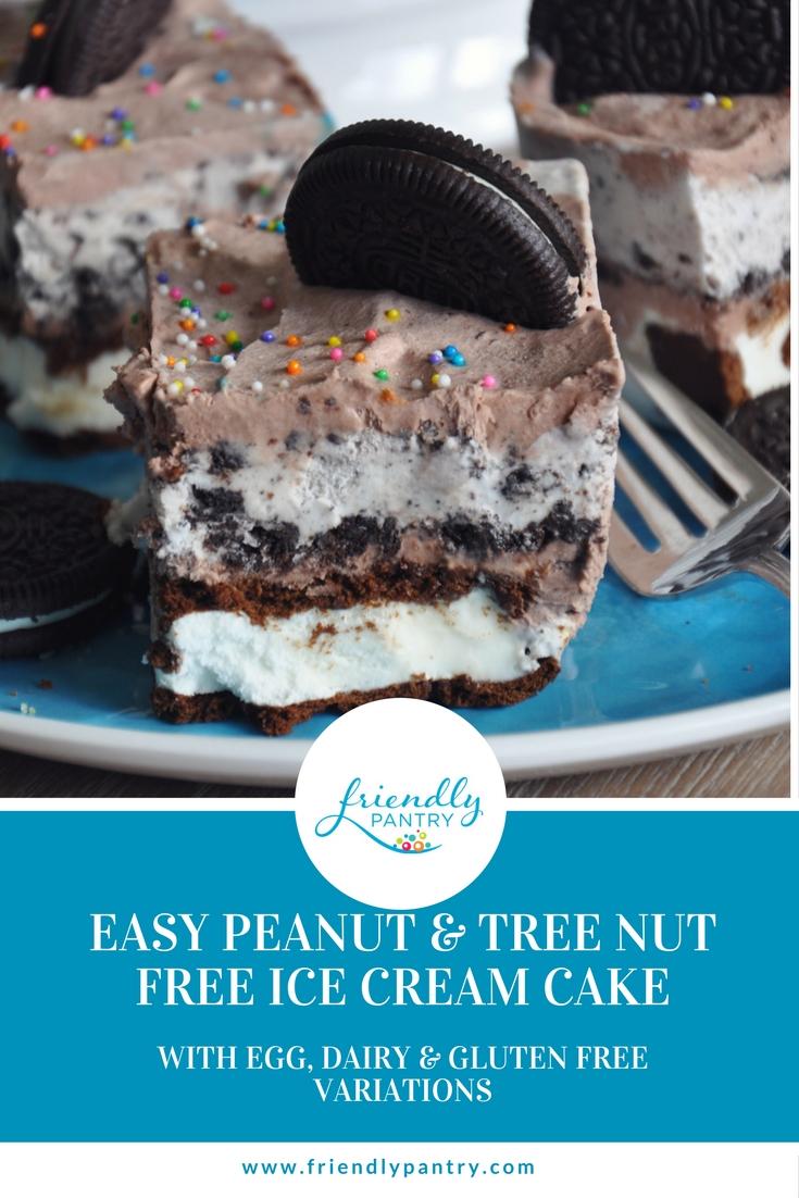 Easy Peanut & Tree Nut Free Ice Cream Cake (with Dairy free & Egg Free & Gluten Free Variations)