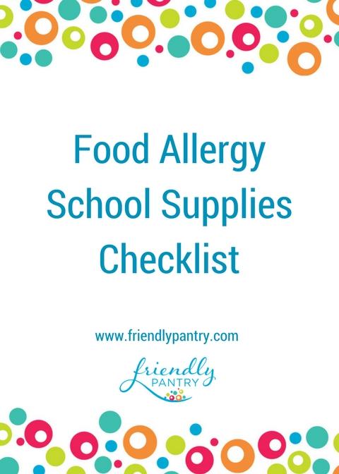 Food Allergy School Supplies Checklist