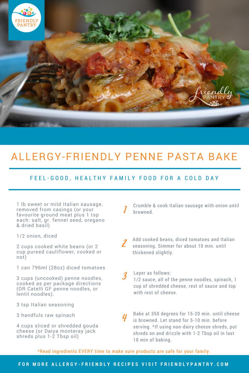 Allergy-Friendly Penne Pasta Bake