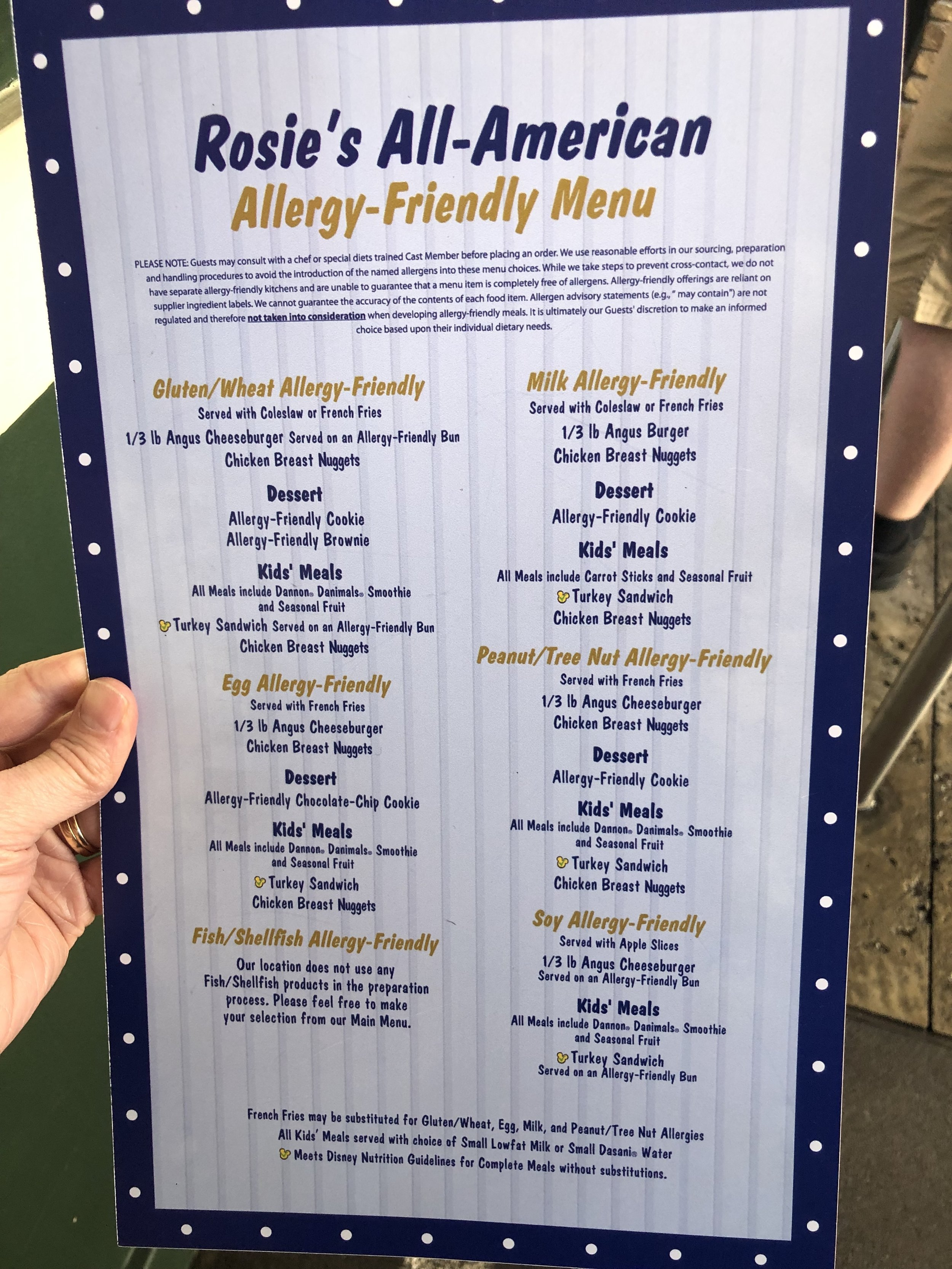 Rosie's All American Diner Allergy Menu (Near Rockin' Rollar Coaster) - Hollywood Studios
