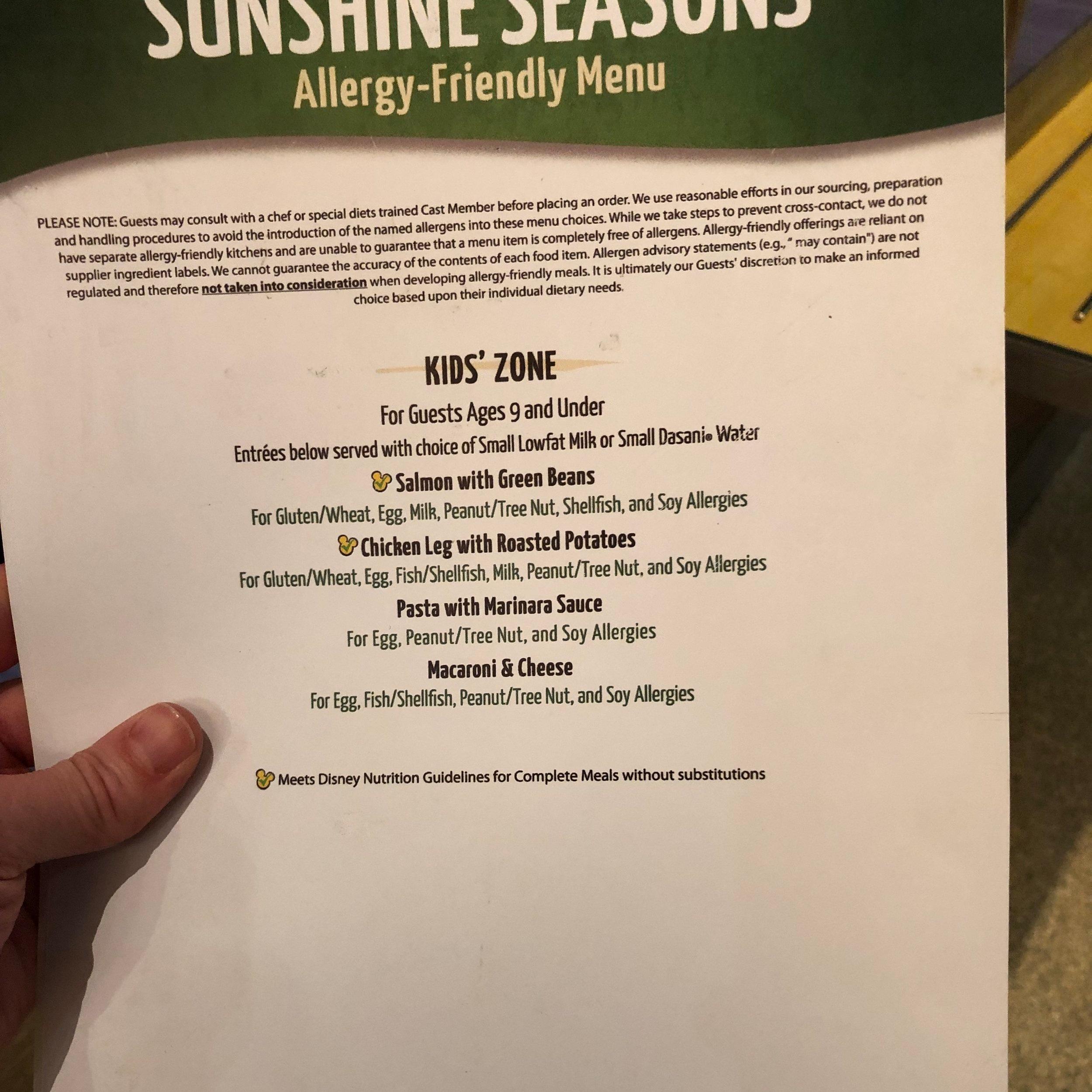 KIds Allergy Menu for Sunshine Seasons near Soarin' at Epcot