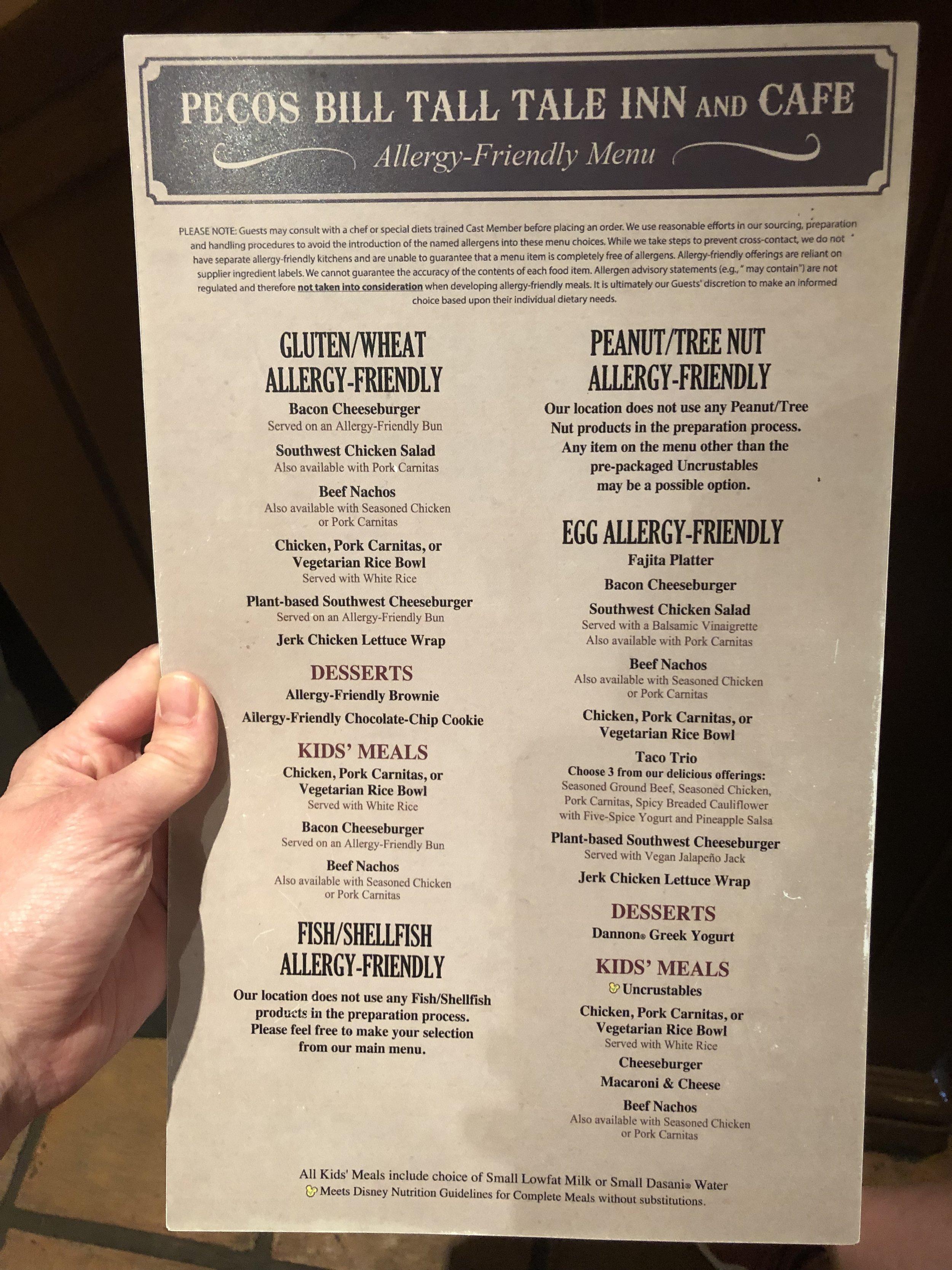 Pecos Bill Tall Tale Inn Allergy Menu at Magic Kingdom in Disney World