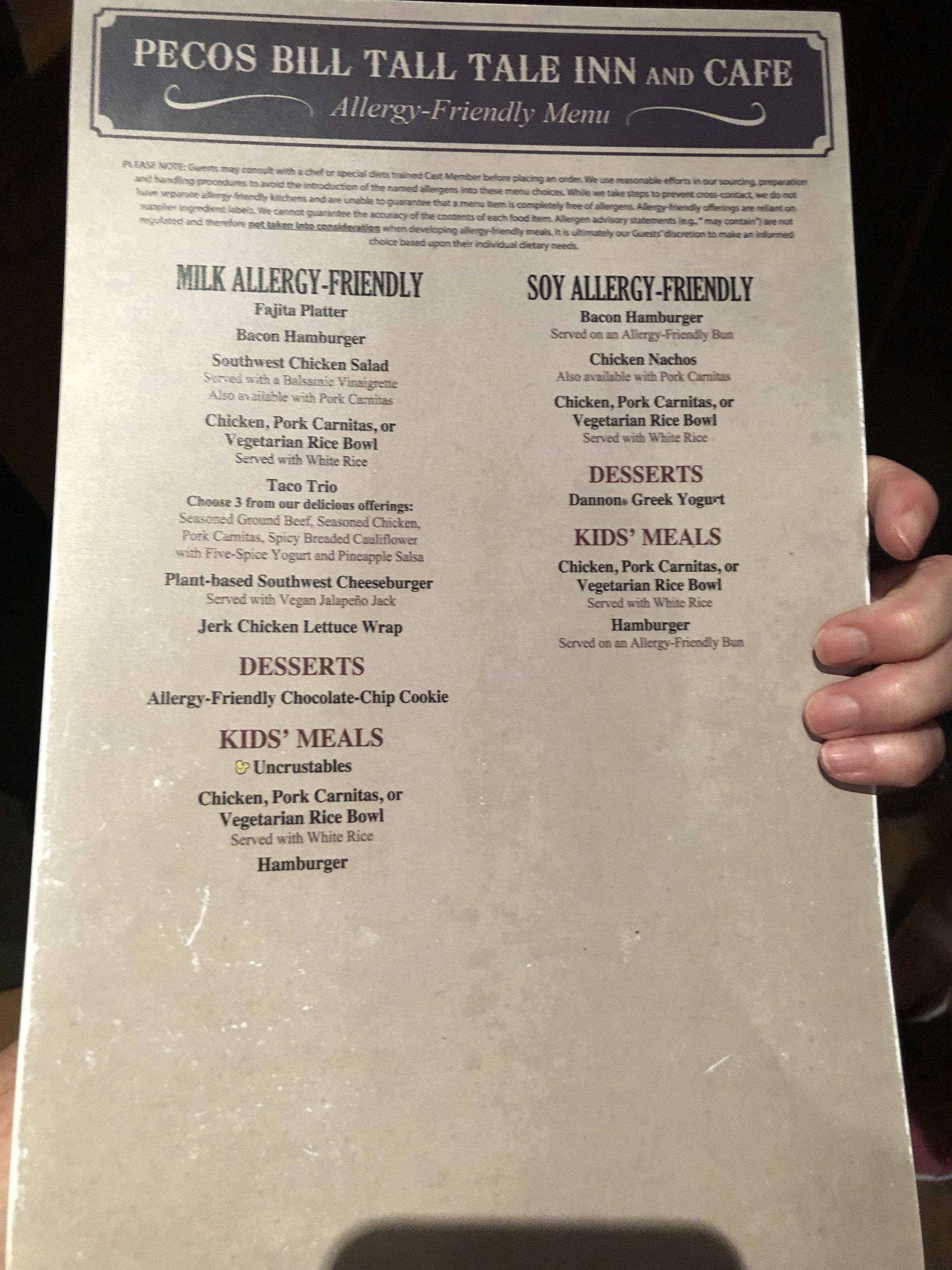 Pecos Bill Tall Tale Inn Allergy Menu Page 2 at Magic Kingdom in Disney World