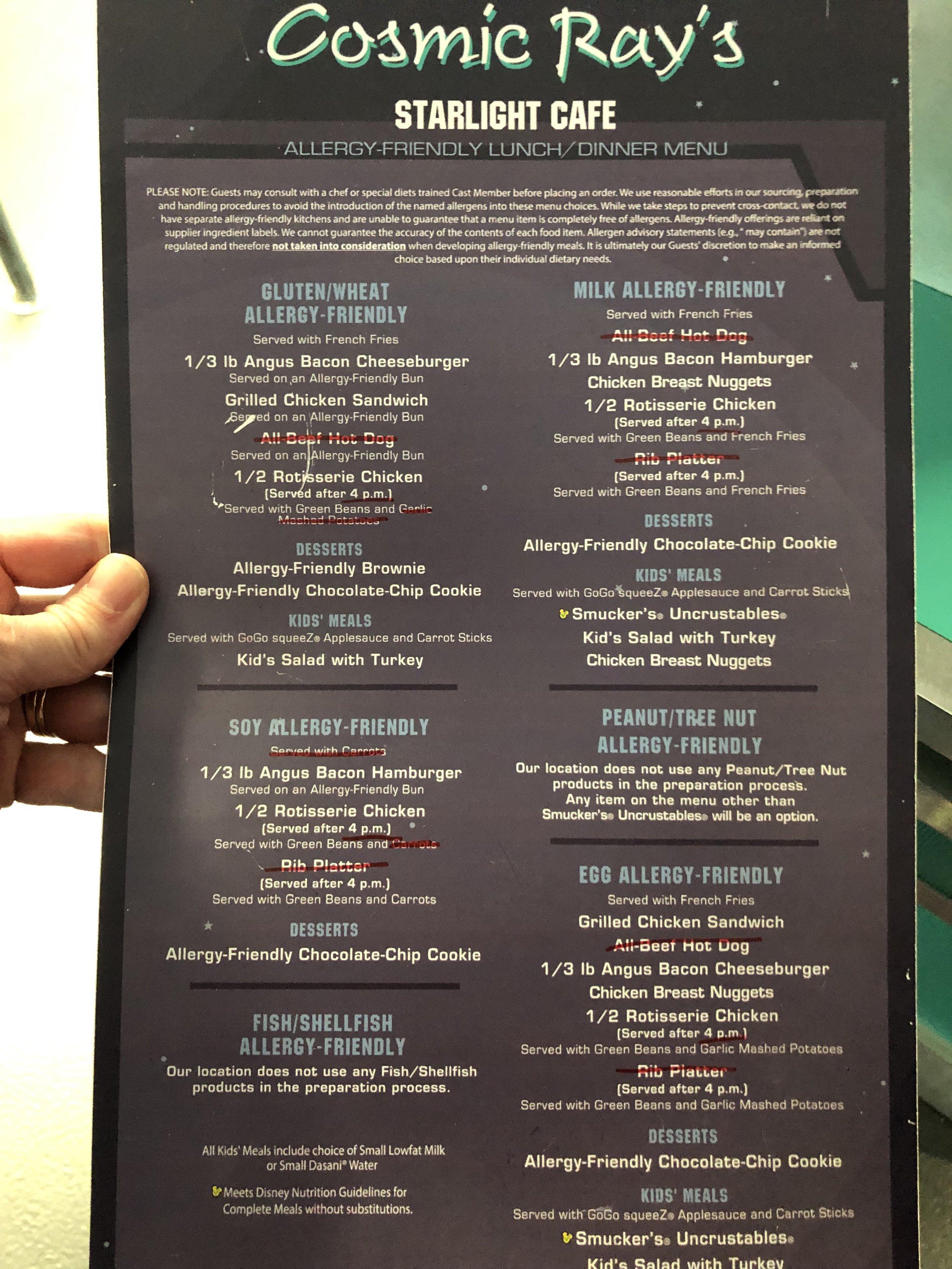 Cosmic Ray's Starlight Cafe Allergy Menu in Tomorrowland at Disney World