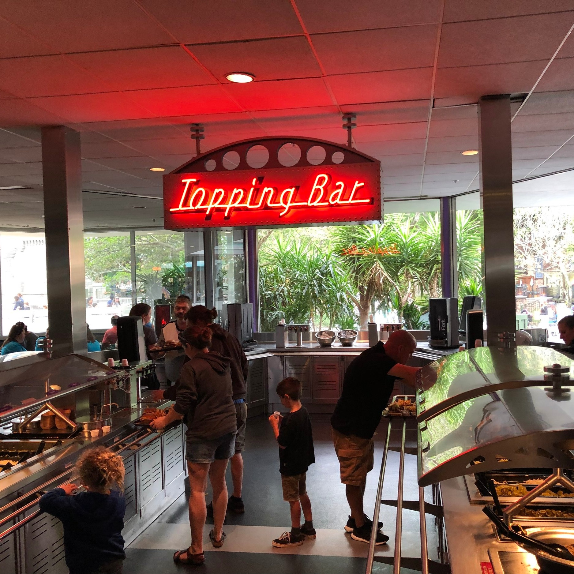 Topping Bar at Cosmic Ray's Cafe in Tomorrowland at Disney World