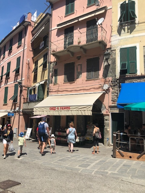 Small food mart where we bought allergy-friendly bananas to snack on in one of the Cinque Terra Villages, Italy.