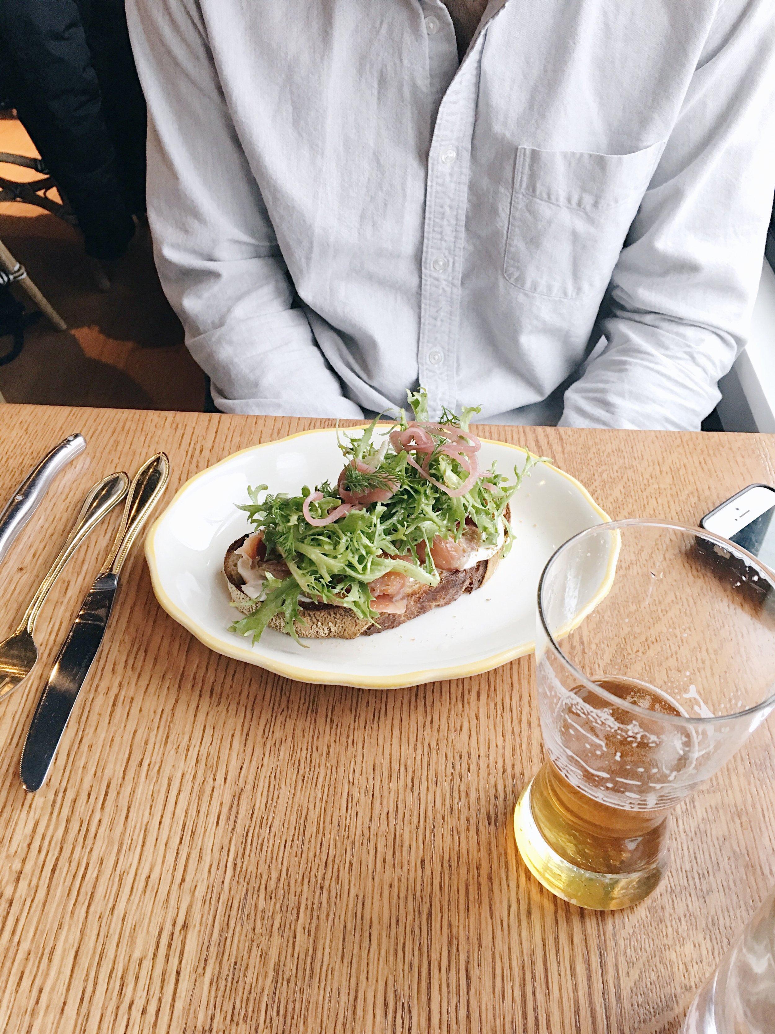 Salmon Lox Tartine ($12)