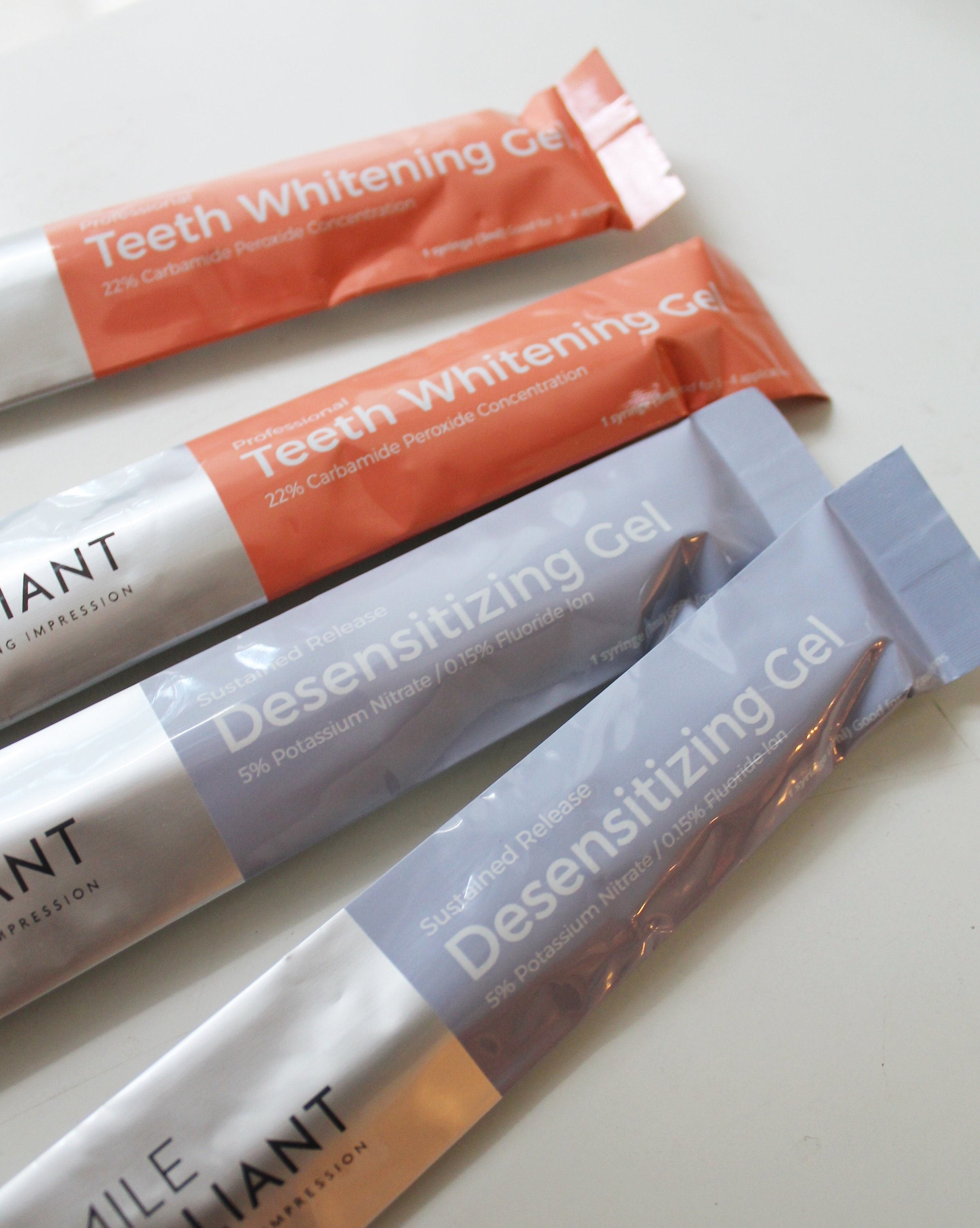 Teeth whitening gel and desensitizing gel to add to customized trays