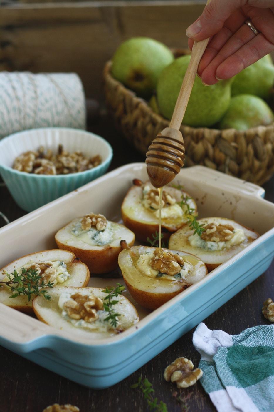 Baked Pears with Gorgonzola & Honey from Happy Kitchen. Rocks