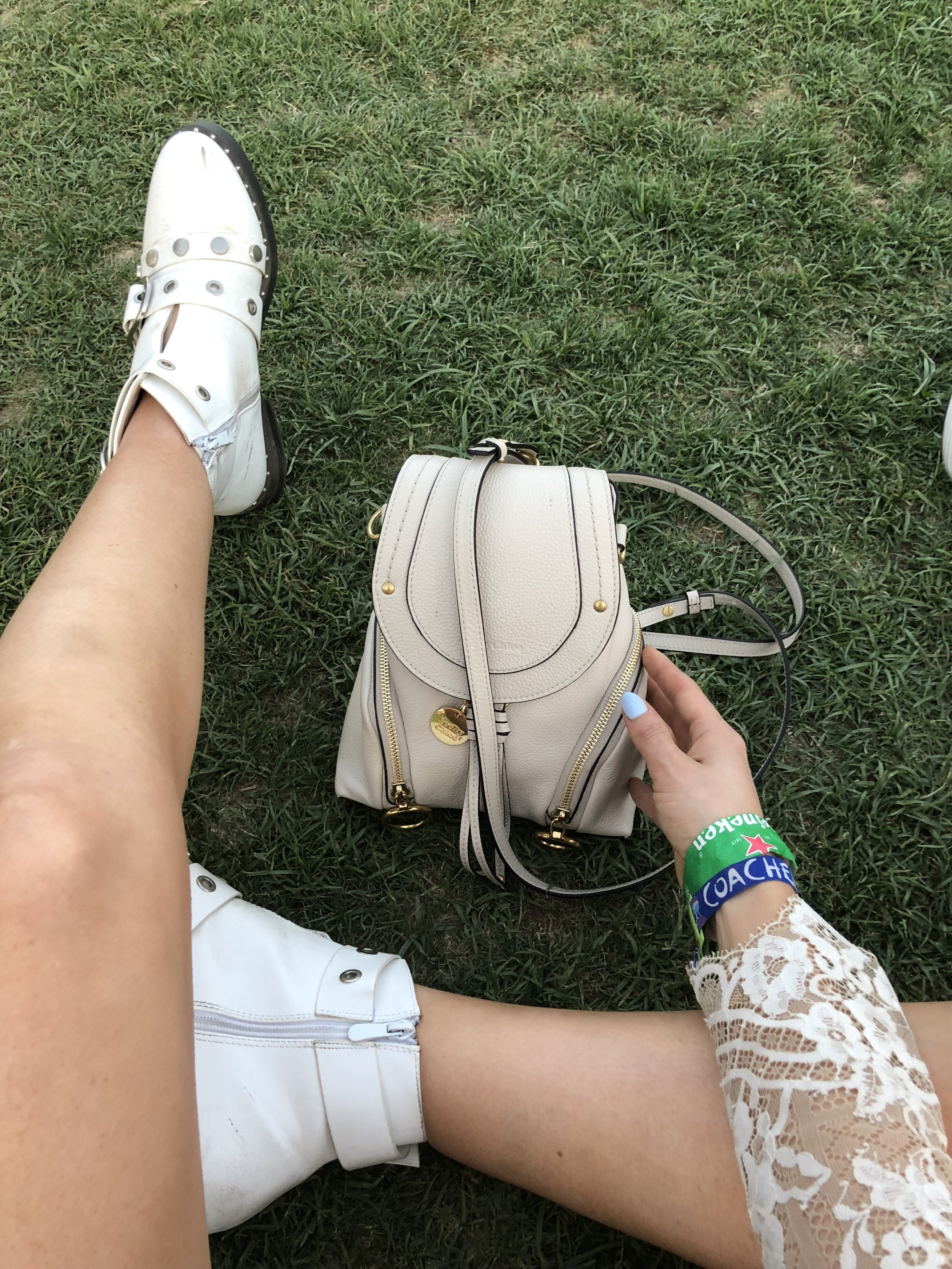 See by Chloe Olga Mini backpack  and  white Nasty Gal booties