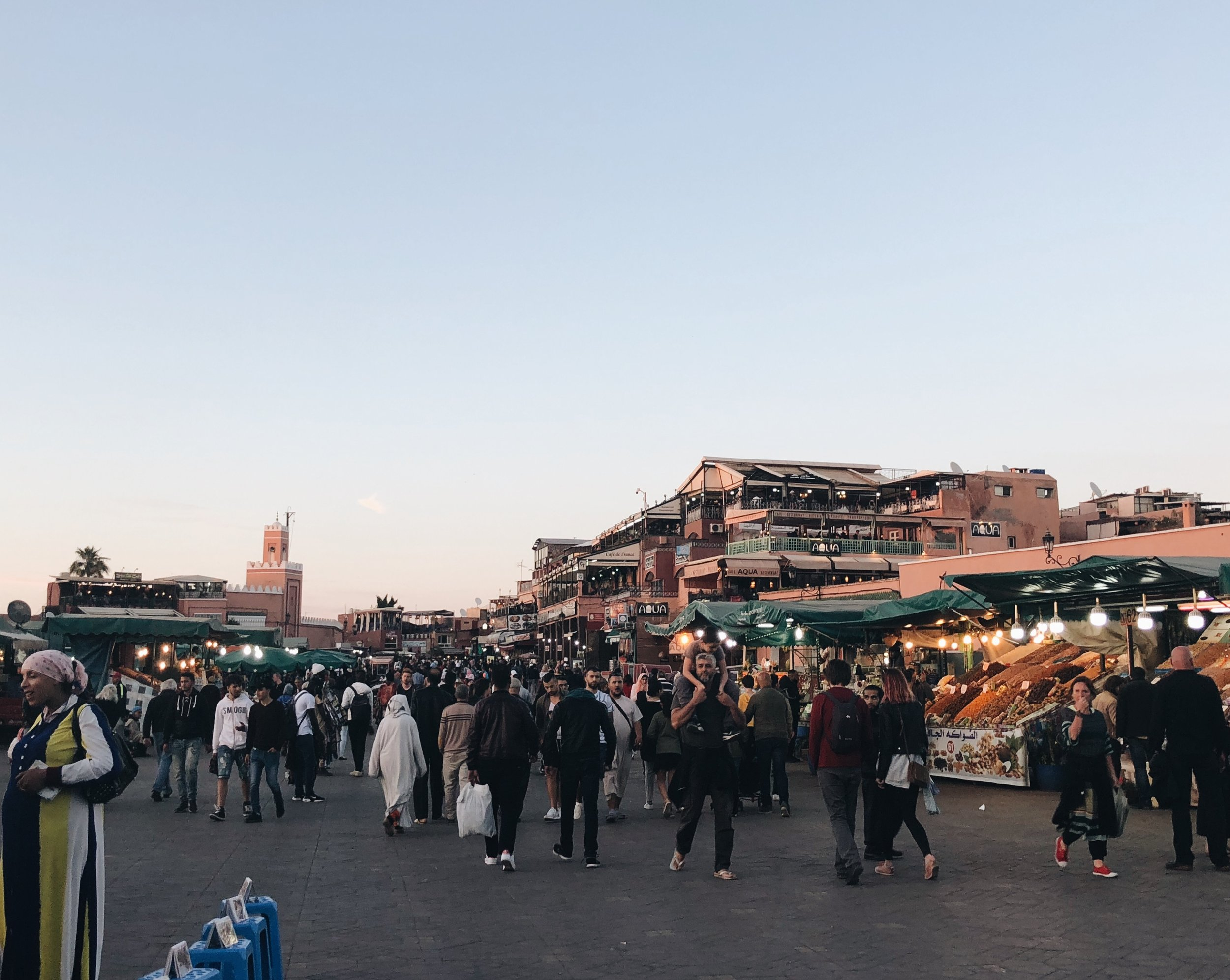 Jemaa el-Fnaa at sunset