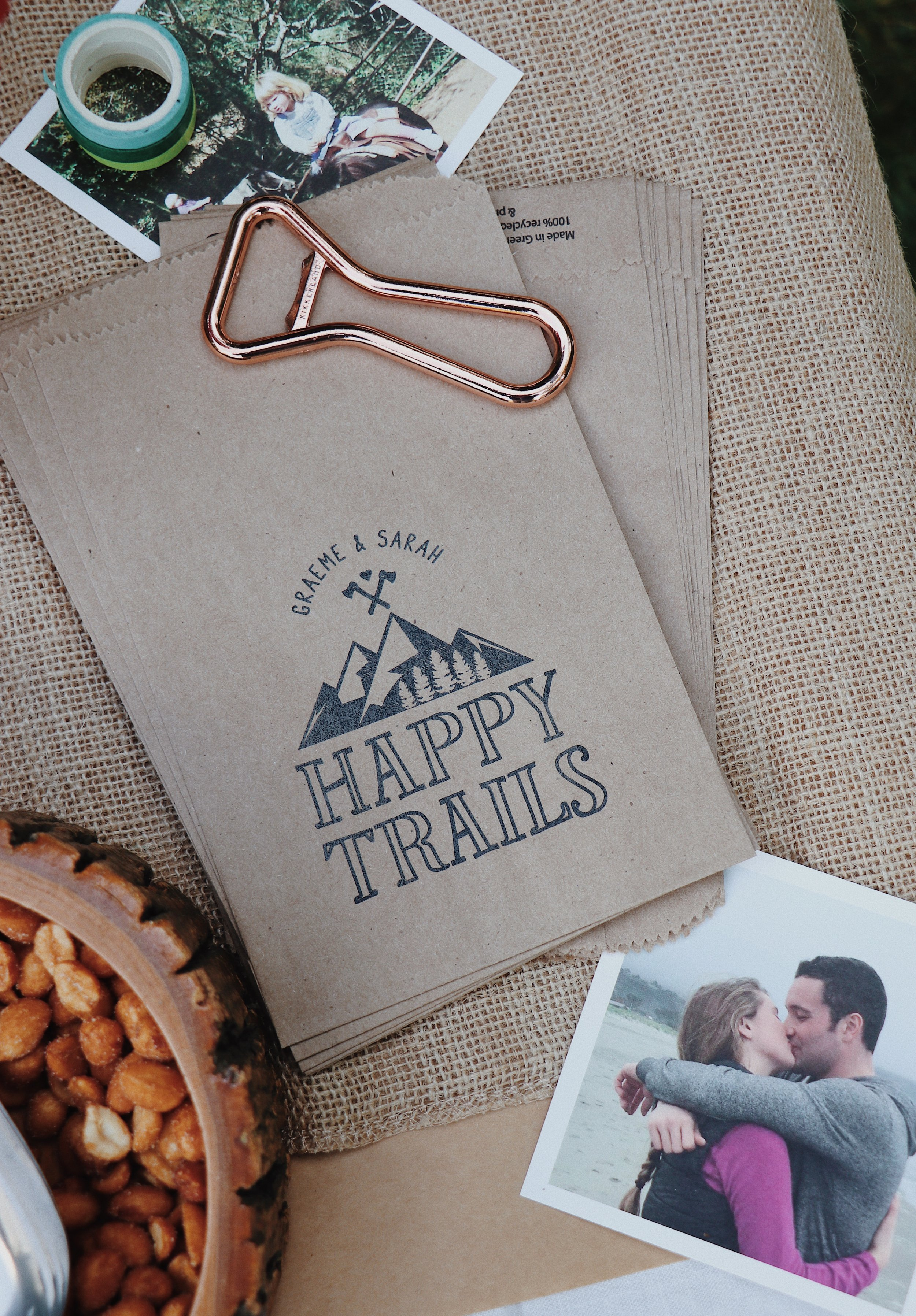 Personalized Happy Trails bag from Etsy