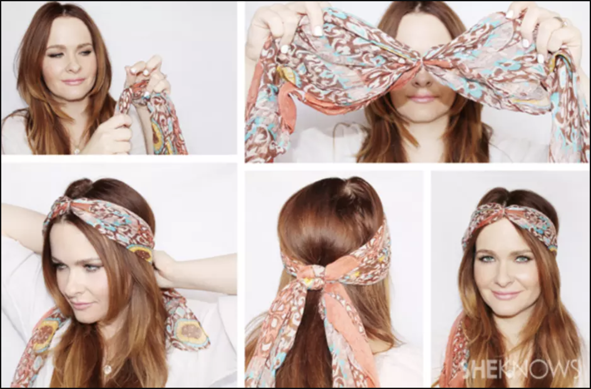 All you need for this style is a chic scarf and a rubber band! Just tie the rubber band in the middle of the headscarf and you're on your way to one boho look!