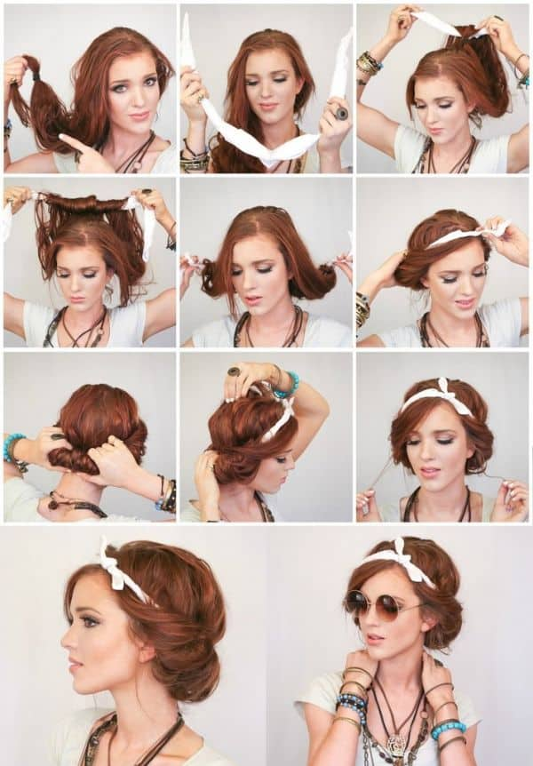 Make your hair look fuller by pulling apart some of the hair at the crown and separating the hair that's tucked under. Another cute look that keeps your hair off your neck (something we're all desperate for as spring turns to summer).