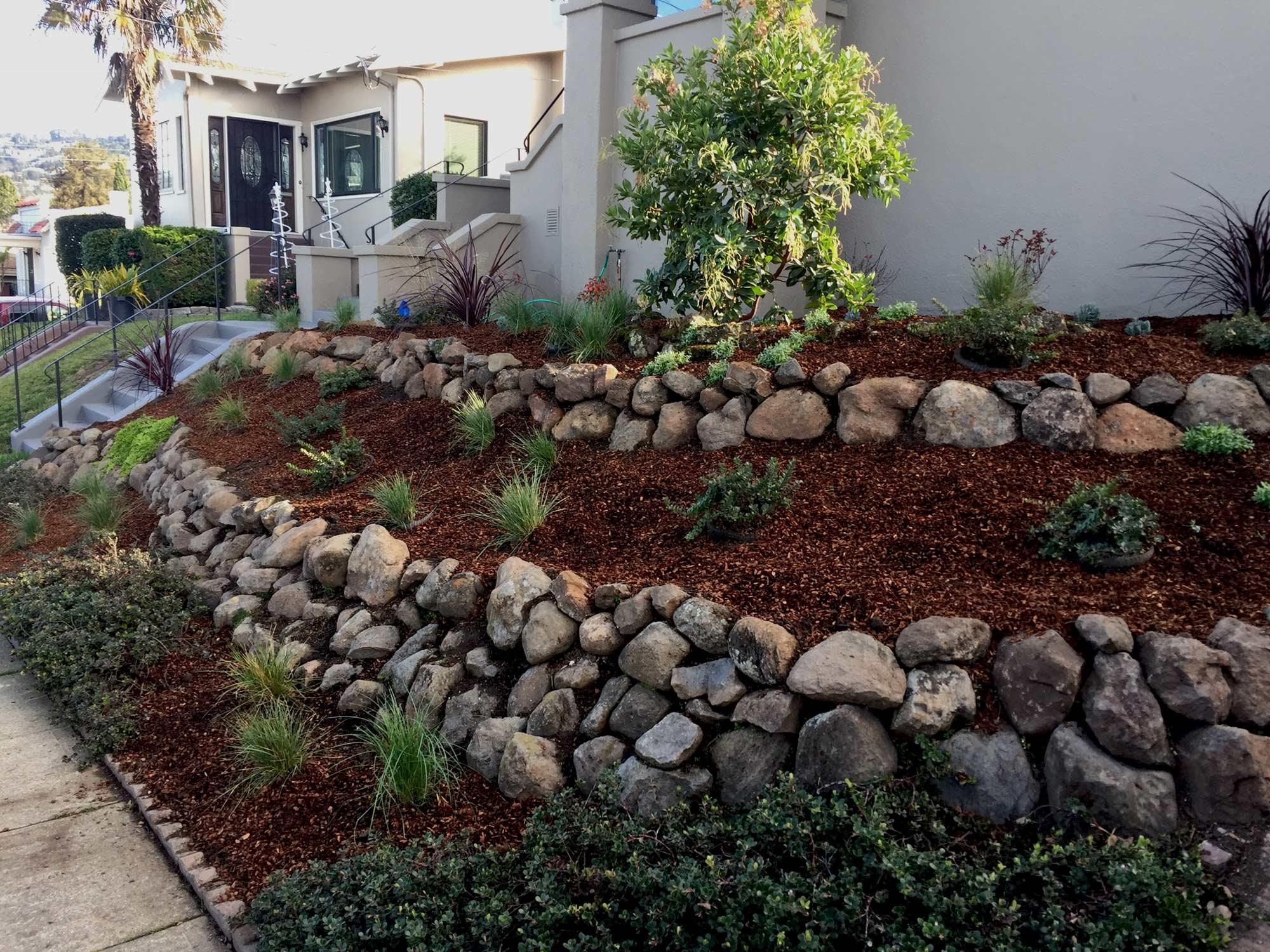 Stone retaining wall. Rockridge, Oakland.