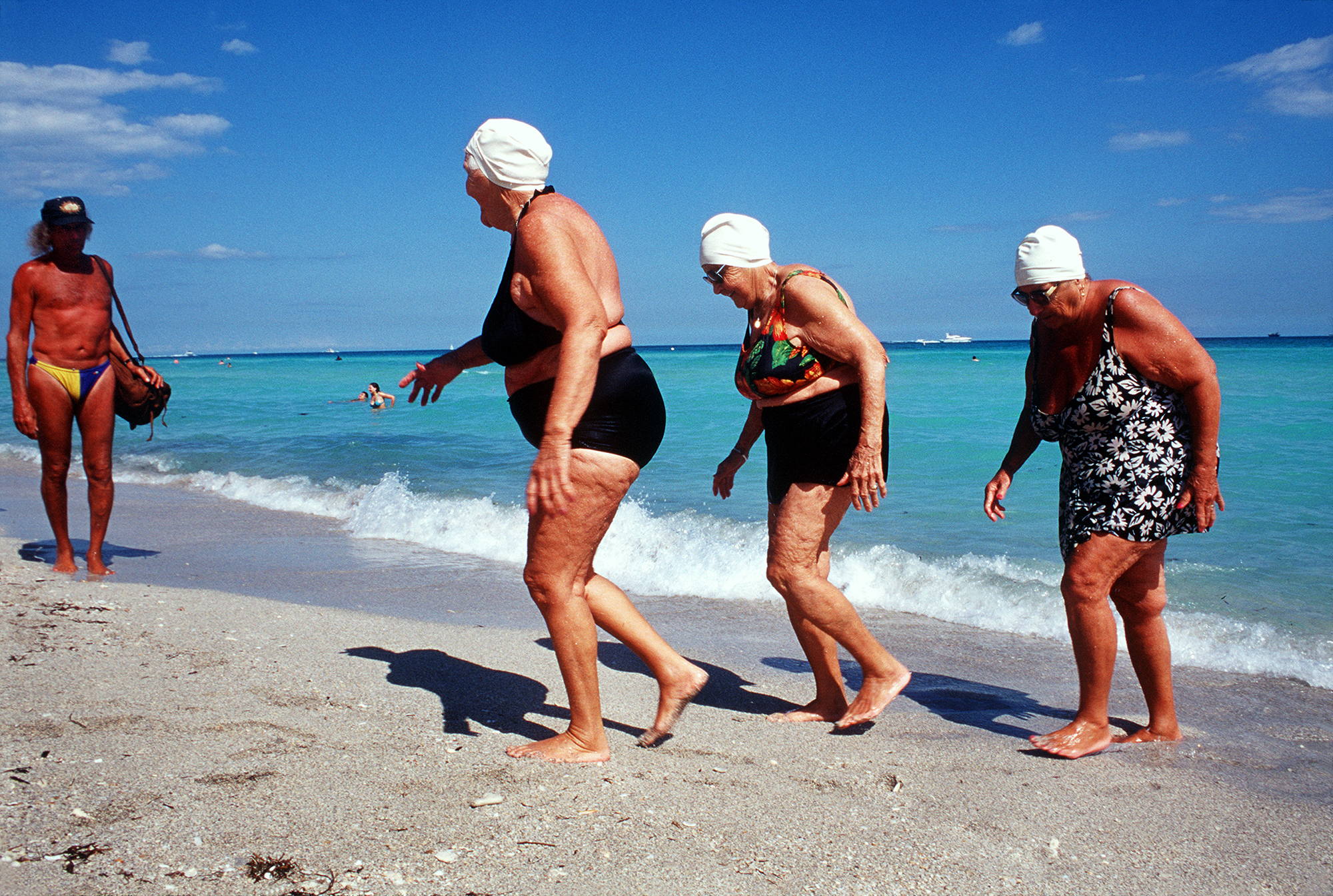 Sisters getting out of ocean — Miami Beach Florida,  Haddon Hall