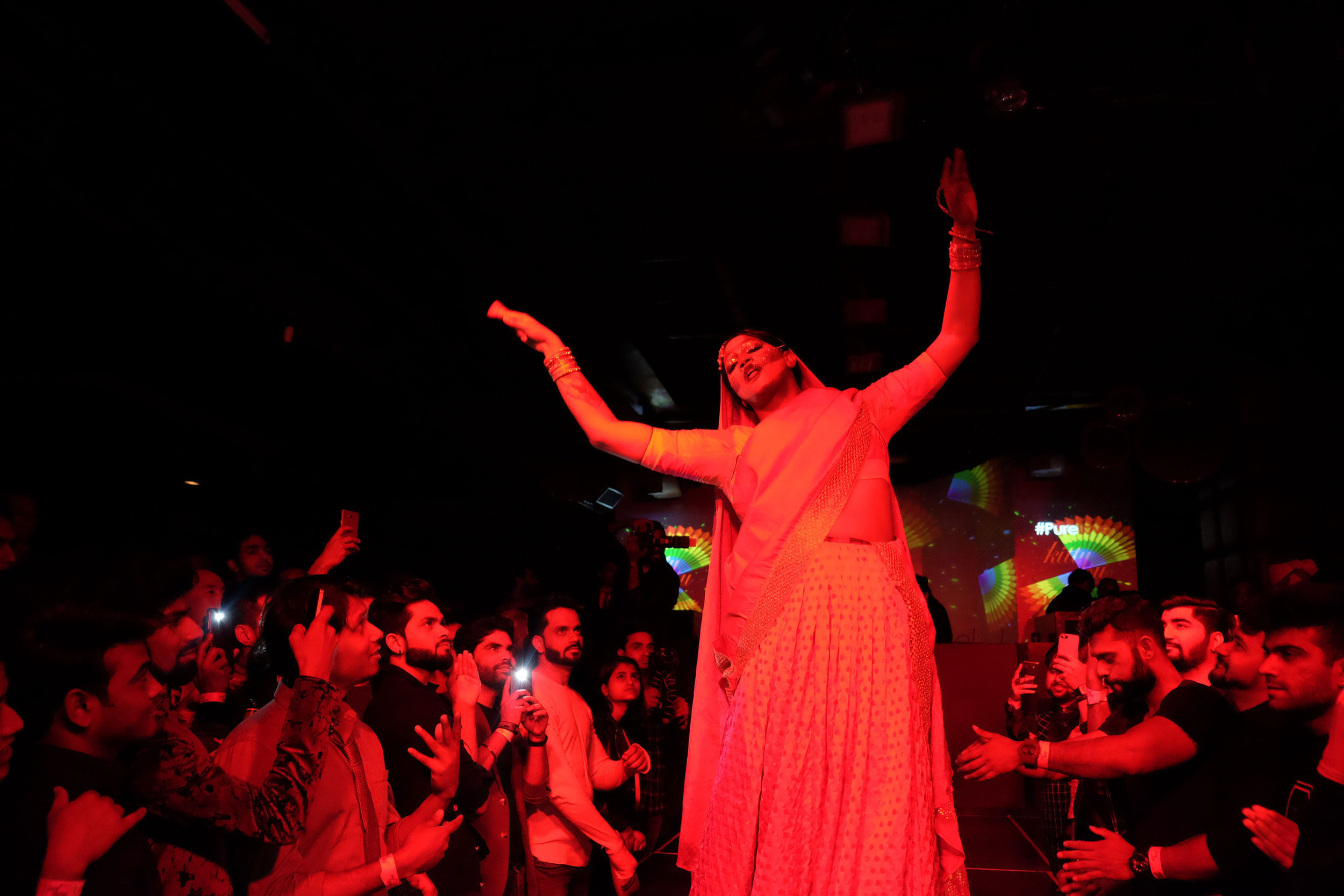 "SAHIBA CHAWDHARY  www.sahibachawdhary.com  |  @sahiba_chawdhary   Alex Mathew, a Bangalore-based drag artist in his persona as ""Mayamma, Mother of Illusions,"" performs the Bollywood song ""Ghoomar"" portraying her majestic ""Maya-Sa"" form. As drag gains popularity in India, my long-term photo project ""Drag Queens of India"" documents queer men and artists taking up the art of drag to express their alter egos, liberate themselves and break gender stereotypes."