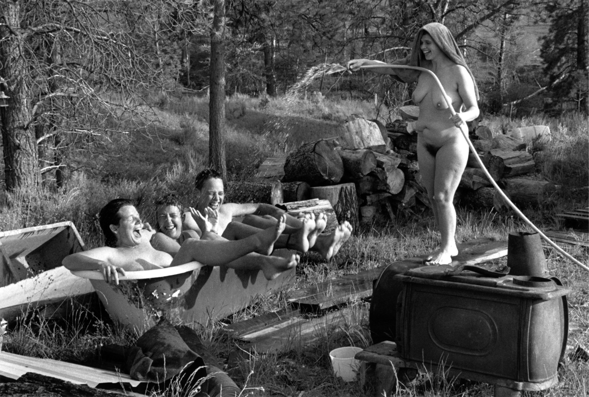 Friends cooling off in the Bitteroot Valley, 1987, Stevensville, MT