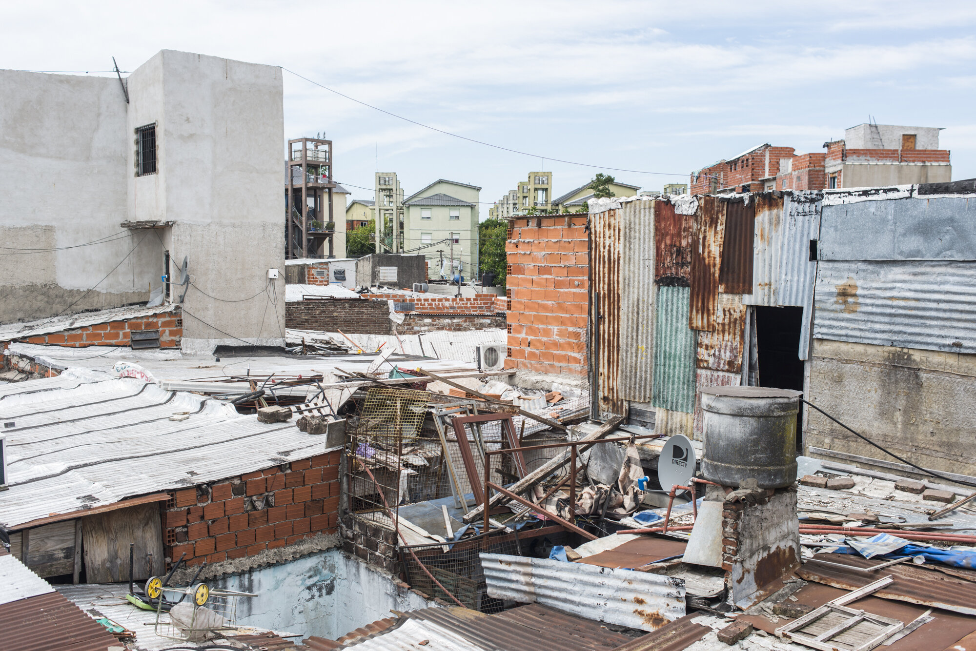 View of the Las Flores slum from Mariana's rooftop in Florida Oeste, Buenos Aires.