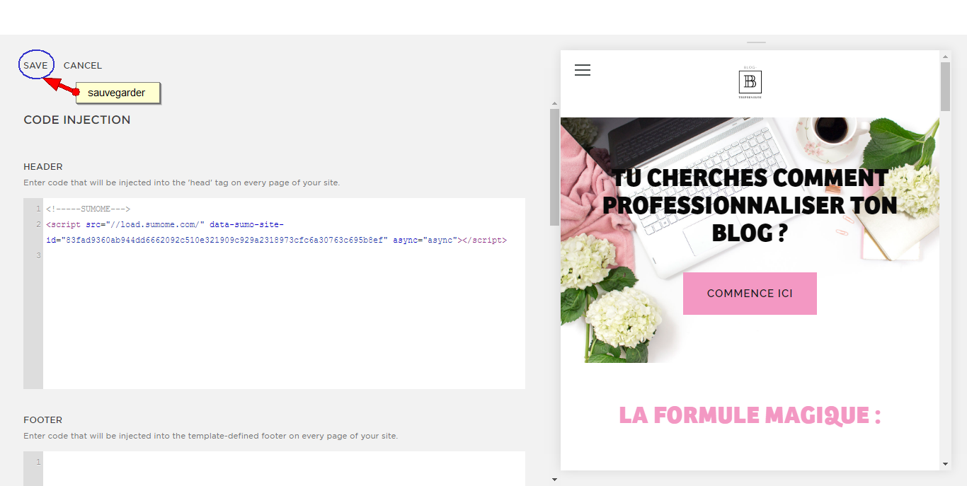 Squarespace-code injecton sumome