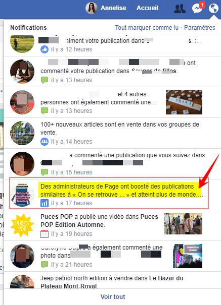 notification boost publication facebook