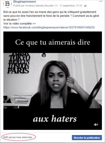 publication video sur page fan facebook