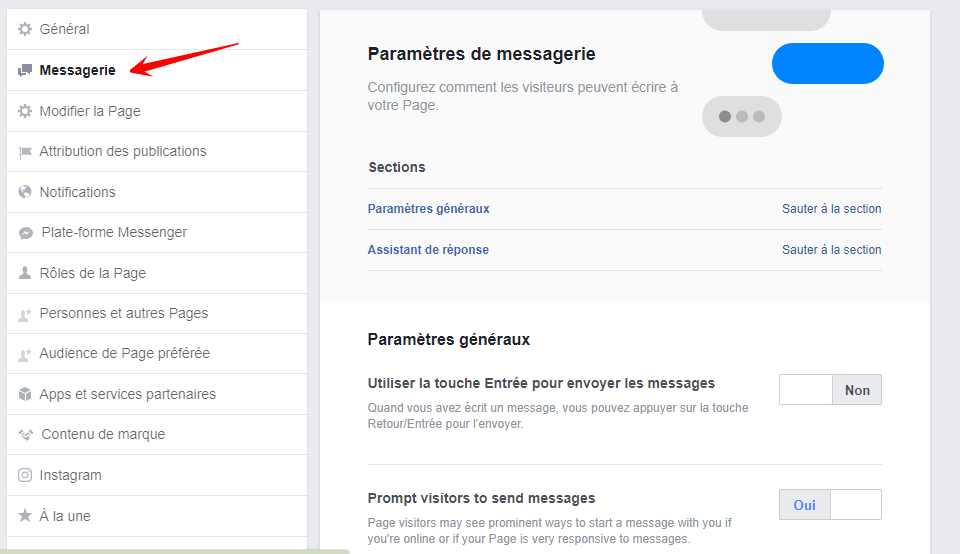 paramètres messenger